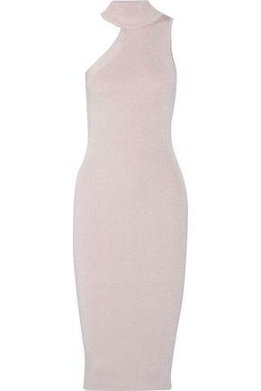 CUSHNIE ET OCHS Metallic ribbed stretch-knit turtleneck midi dress