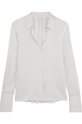 ELIZABETH AND JAMES Perry silk-blend satin and georgette shirt