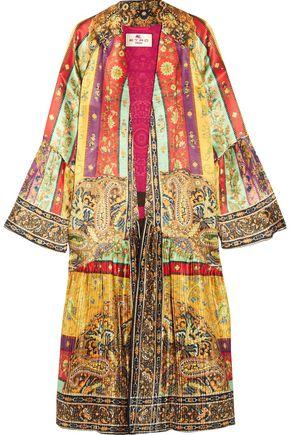 ETRO Printed plissé washed-silk jacket