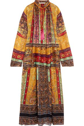 ETRO Oversized tasseled printed silk-chiffon maxi dress