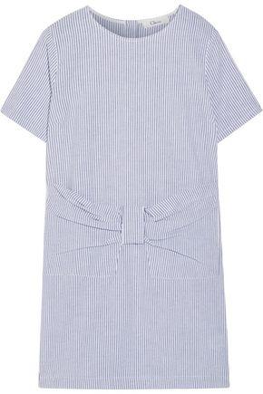 CLU Striped cotton-seersucker mini dress