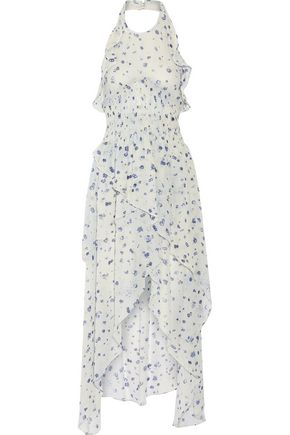 IRO Jessy ruffled printed chiffon halterneck dress