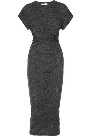 IRO Pacson twist-front mélange cotton and modal-blend dress