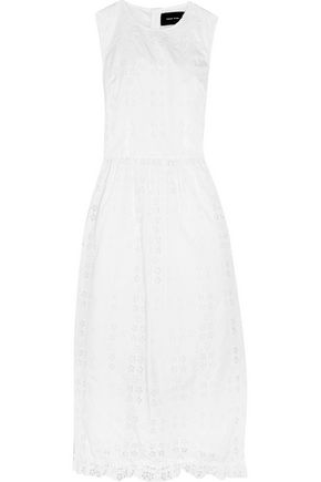 SIMONE ROCHA Ruffle-trimmed broderie anglaise cotton-blend midi dress