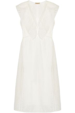 BURBERRY Ruffle-trimmed broderie anglaise cotton-blend dress