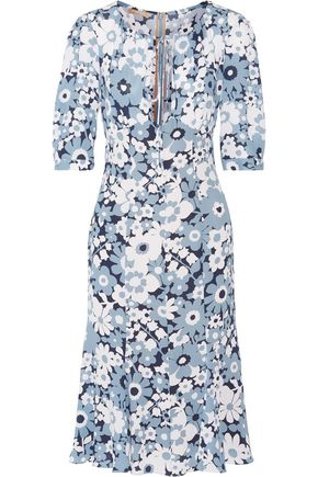 MICHAEL KORS COLLECTION Fluted floral-print silk dress