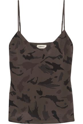 L'AGENCE Jane camouflage-print washed-silk camisole