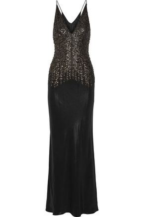 NARCISO RODRIGUEZ Embellished silk-satin gown