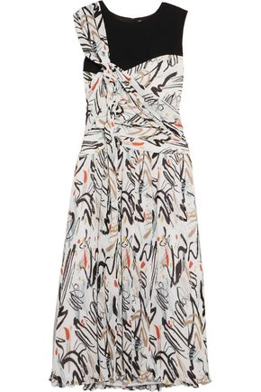 ADEAM Draped printed plissé-crepe dress
