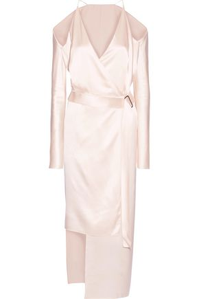 DION LEE Asymmetric cold-shoulder silk-satin wrap dress