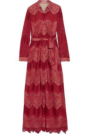 ALICE + OLIVIA Sina paneled guipure lace and voile maxi dress