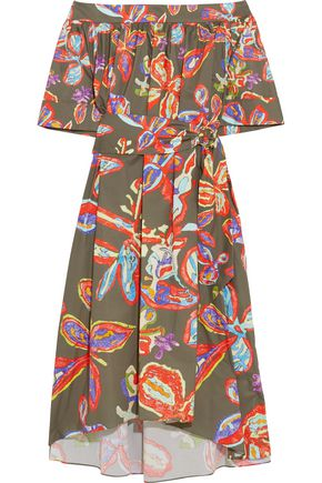 PETER PILOTTO Off-the-shoulder printed cotton-blend poplin dress