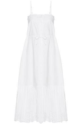 MES DEMOISELLES Cute broderie anglaise-trimmed cotton-poplin dress