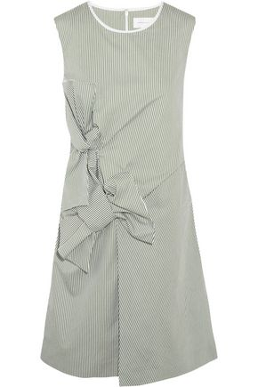 VICTORIA, VICTORIA BECKHAM Bow-embellished pinstriped cotton dress