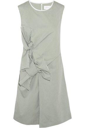 VICTORIA, VICTORIA BECKHAM Bow-embellished pinstriped cotton dress