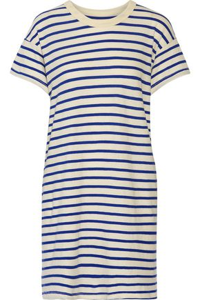THE GREAT. The Boxy striped cotton-jersey mini dress