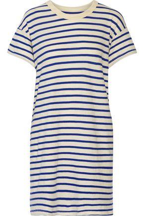 THE GREAT. The Boxy striped cotton-jersey mini dress