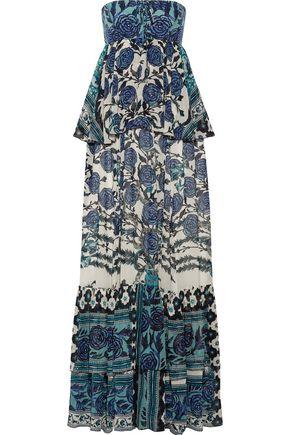 ROBERTO CAVALLI Layered floral-print silk-chiffon gown