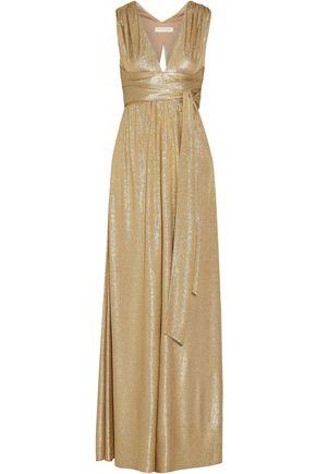 HALSTON HERITAGE Belted metallic cloqué gown