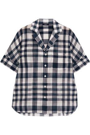 THEORY Ralfinn plaid cotton-voile shirt