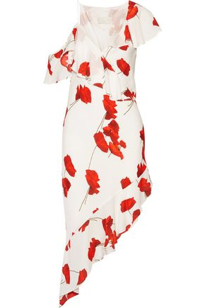 MICHELLE MASON One-shoulder floral-print voile dress