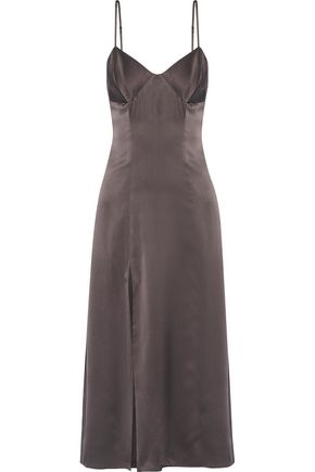 MICHELLE MASON Silk-blend satin midi dress