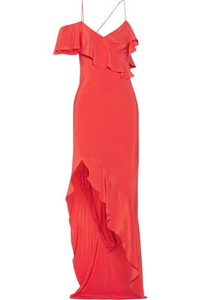MICHELLE MASON Asymmetric ruffled silk crepe de chine gown