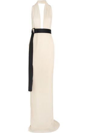 SOLACE LONDON Laryn plissé-crepe halterneck gown