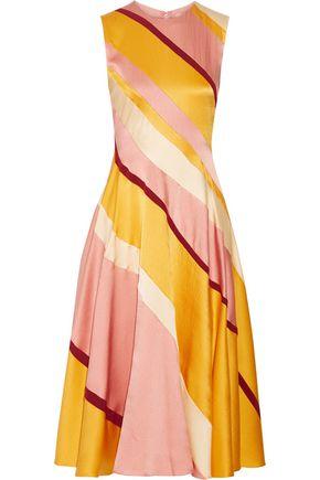 ROKSANDA Lucine striped hammered silk-satin midi dress