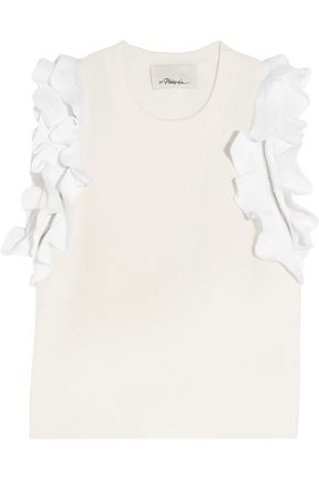 3.1 PHILLIP LIM Zip-detailed ruffled stretch-cotton top