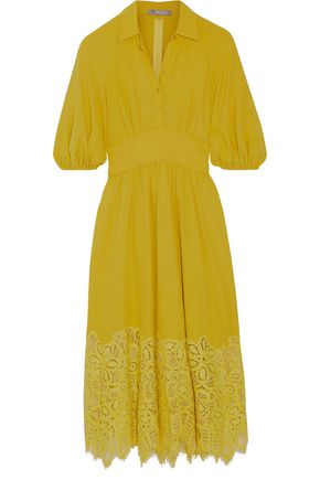 LELA ROSE Corded lace-paneled crepe dress