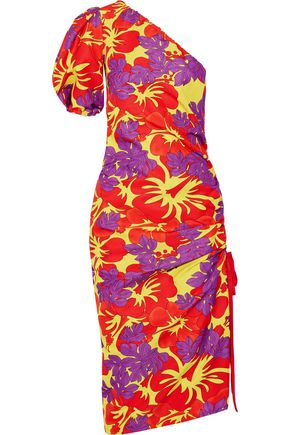 ROSIE ASSOULIN One-shoulder ruched printed cotton-blend faille midi dress
