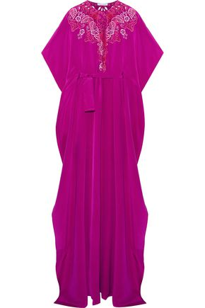 OSCAR DE LA RENTA Broderie anglaise silk-satin gown