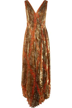 OSCAR DE LA RENTA Pleated printed silk-blend lamé wrap gown