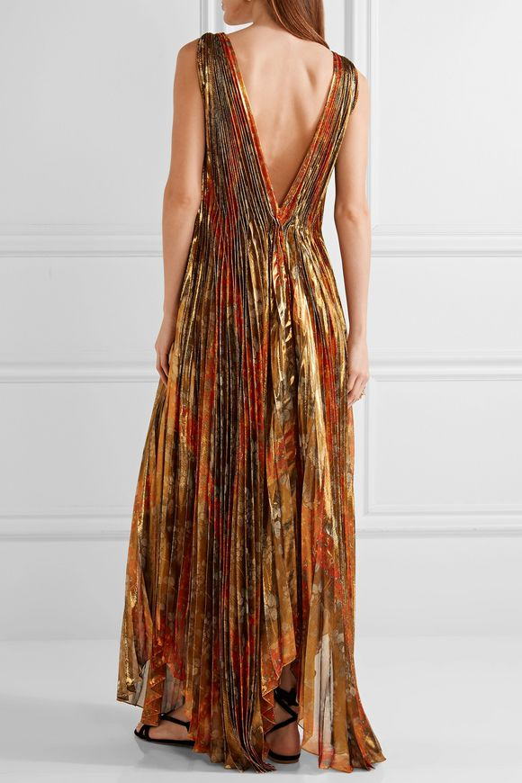 Pleated printed silk-blend lamé wrap gown | OSCAR DE LA RENTA | Sale up to  70% off | THE OUTNET