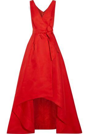 OSCAR DE LA RENTA Woven silk wrap gown