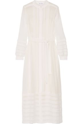 OSCAR DE LA RENTA Belted lace-paneled silk-georgette maxi dress