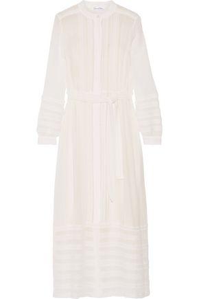 OSCAR DE LA RENTA Belted lace-paneled silk-georgette maxi dress