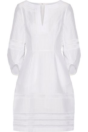 OSCAR DE LA RENTA Crochet-trimmed textured cotton-blend dress