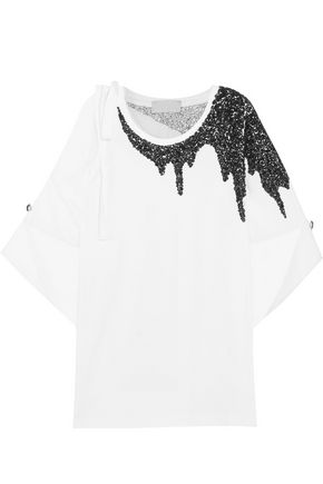 MONSE Sequin-embellished cutout cotton-jersey T-shirt