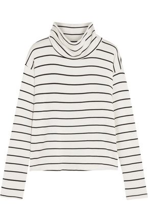 SPLENDID Striped stretch-modal terry turtleneck top