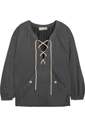 THE GREAT. The Rope lace-up stretch cotton-blend jersey sweatshirt