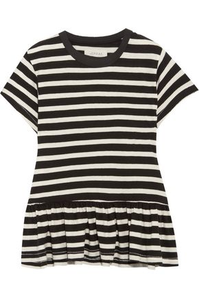 THE GREAT. The Ruffle striped cotton-jersey T-shirt