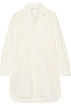 MAX MARA Oversized lace-up cotton-poplin shirt
