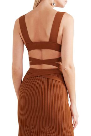 VICTORIA BECKHAM Open-back ribbed-knit stretch-cotton wrap top