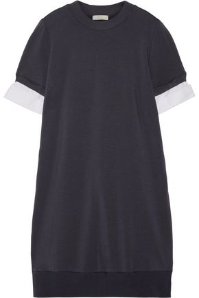 CLU Cotton poplin-trimmed jersey and striped Oxford mini dress