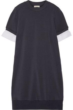 CLU Cotton poplin-trimmed jersey and striped Oxford mini dress