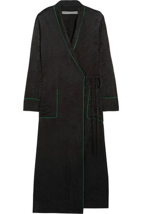 RAQUEL ALLEGRA Silk-damask wrap dress