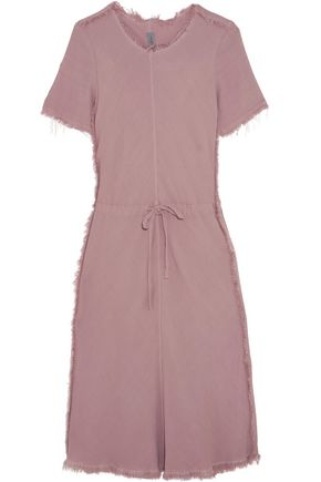 RAQUEL ALLEGRA Frayed textured-crepe dress