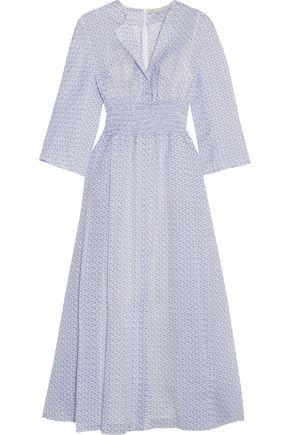 EMILIA WICKSTEAD Madeleine shirred floral-print cotton midi dress